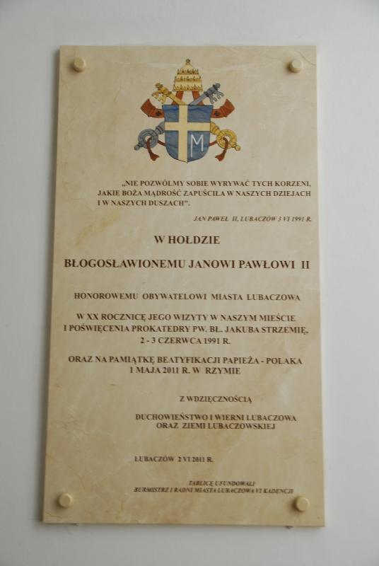 Tablica ufundowana przez samorząd Lubaczowa - 2011