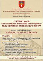 75. rocznica mordu na mieszkańcach wsi Dąbrowa.