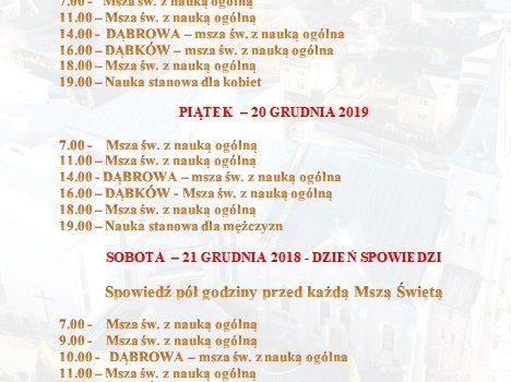 Rekolekcje Adwentowe 19-21.12.2019 r. Program.