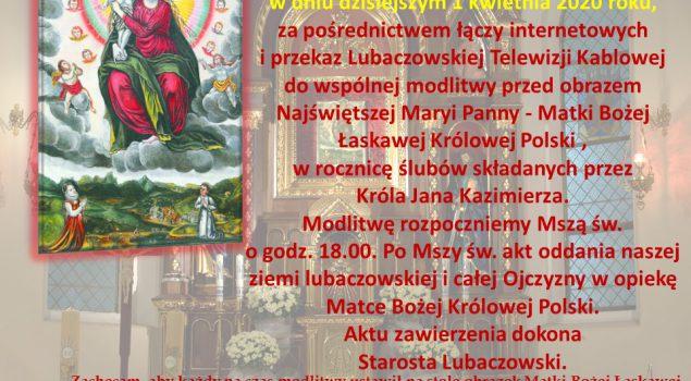 1 kwietnia rocznica ślubów Króla Jana Kazimierza. Uroczystości w Konkatedrze o godz. 18.00.